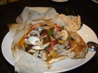 ヒラメと季節野菜のカルトッチョ